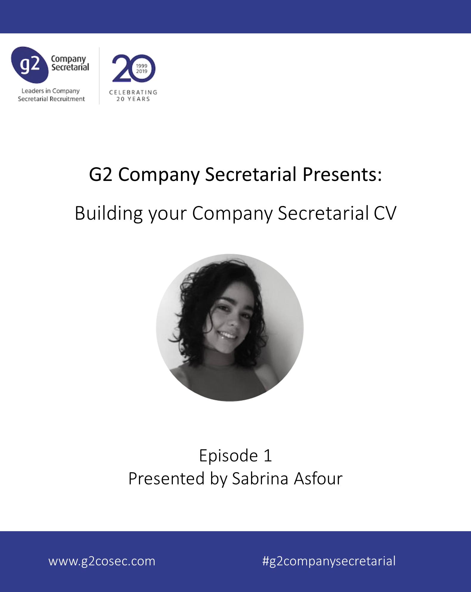 G2 Company Secretarial Presents: Building your Company Secretarial CV
